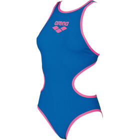 arena One Biglogo One Piece Swimsuit Dames, royal-fluo pink
